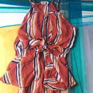 Summer Orange Patterned Top
